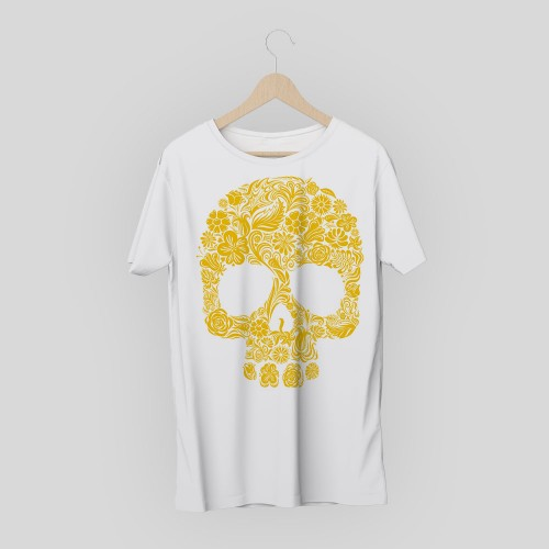 T-shirt teschio giallo